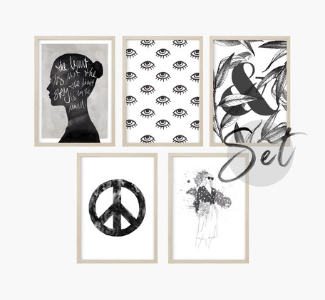 Poster Sets, Set Poster, Kunstdruck Sets, Geschenk Set Poster, Poster Kalender, Poster Shop, günstige Poster, Kunstdruck günstig, Fashion Poster, Sprüche Poster, schwarz weiß Poster
