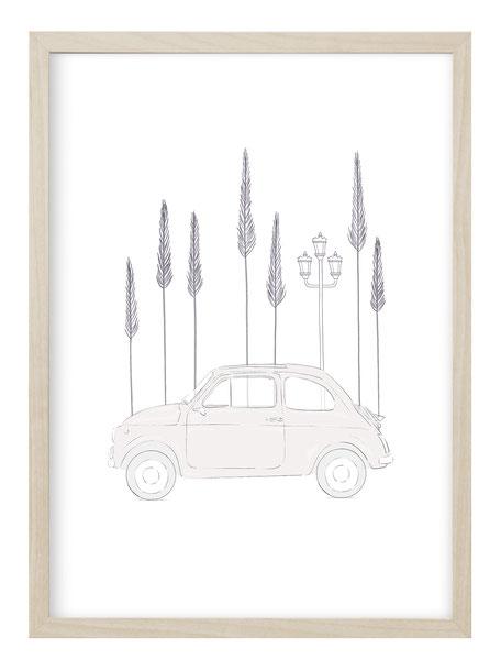 Fiat 500 Geschenk, Fiat 500 Poster, Fiat 500 Zeichnung, Fiat 500 Sketch, Fiat 500 Illustration, Fiat Sketch, Fiat Illustration, Poster Shop, Poster Geschenk, Geschenkidee