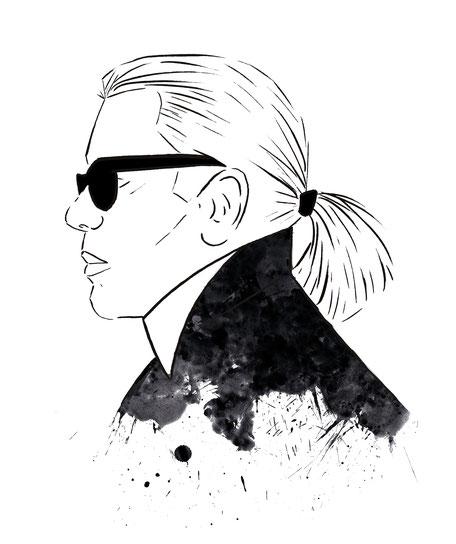 Karl Lagerfeld, Fashionillustration, Modezeichnung, Illustration, Illustratoren, Grafikdesign, Magazin Illustrator, Zeitschrift Ilustration, Designagentur, Karl Lagerfeld, Karl Lagerfeld Illustration, Blogger Sketch, Karl der Große, Karl Lagerfeld Sketch