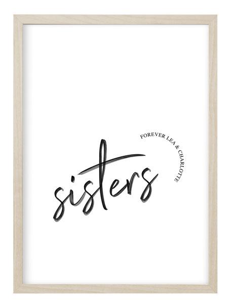 personalisierbare poster, personalisierte Geschenke, personalisierte Kunstdruck, Kunstdruck mit Namen, personalisierte Geschenke, geschenkidee Familie, Familien poster, poster mit Namen, poster Geburt, poster Schwester, geschenkidee Schwester, Schwestern