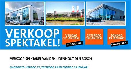 Online en social media bannering als onderdeel van de reclamecampagne voor het Automotive Sales Event bij Van den Udenhout-Den Bosch, officieel Volkswagen-Audi-SEAT-ŠKODA-Volkswagen Bedrijfswagens dealer. 88 verkochte auto's in 1 weekend. Januari 2020.