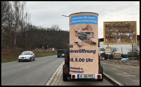 Wiedereröffnung 22.01.18, ALDI Süd Seukendorf, Seukenbach 4 ; Aussenwerbung ; mobile  Werbesäule ; Reklame ; Werbung ; mobile Außenwerbung ; refix GmbH ; advertising ; pillar ; column ; günstig; inovation ; einzigartig ; unique