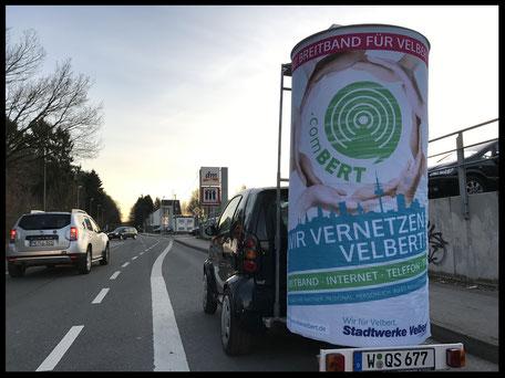 Breitband für Velbert, Stadtwerke Velbert, comBert; Aussenwerbung ; mobile  Werbesäule ; Reklame ; Werbung ; mobile Außenwerbung ; refix GmbH ; advertising ; pillar ; column ; günstig; inovation ; einzigartig ; unique