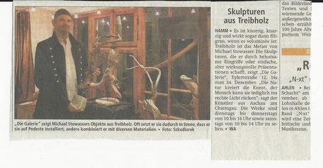 Zeitungsbericht Skulpturen aus Treibholz Westfälischer Anzeiger 1