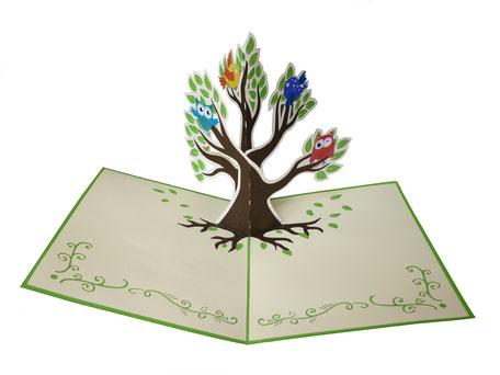 Carte pop-up Arbre à chouettes - Carte kirigami hiboux