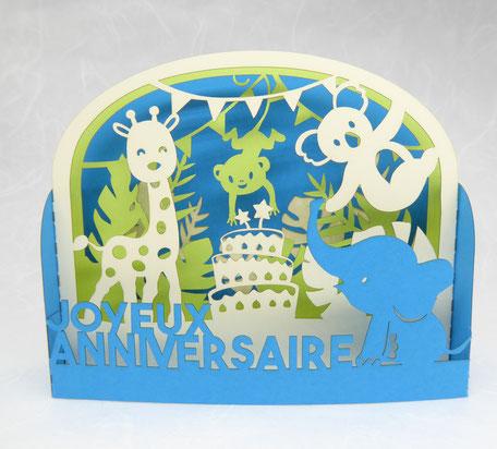 Carte pop-up anniversaire enfant animaux de la jungle fabriquée en France