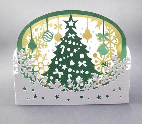 Carte de voeux en pop-up Sapin de Noël en format diorama - Carte Joyeux Noël - Bonnes Fêtes