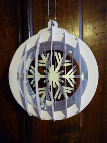 Boule de Noël Flocon blanc/argent