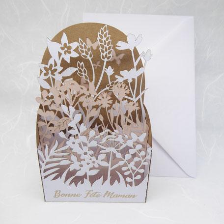 Carte pop-up fête des mères champs de fleurs kraft