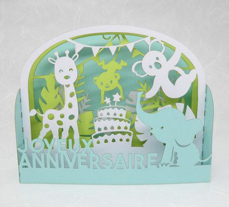 Carte pop-up anniversaire enfant les animaux de la jungle coloris pastel fabriqué en France