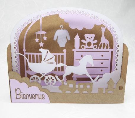 carte de naissance fille en pop-up couleur kraft lilas blanc