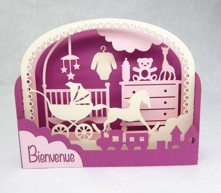 Carte de naissance fille en pop-up coloris framboise et rose