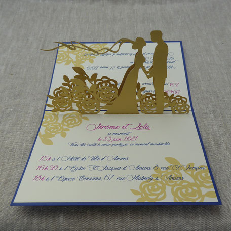 Faire-part mariage pop-up sur mesure couleurs au choix texte personnalisable