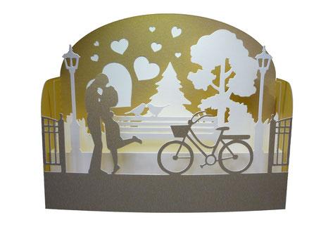 carte diorama amoureux doré