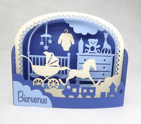 Carte de naissance garçon en pop-up bleu