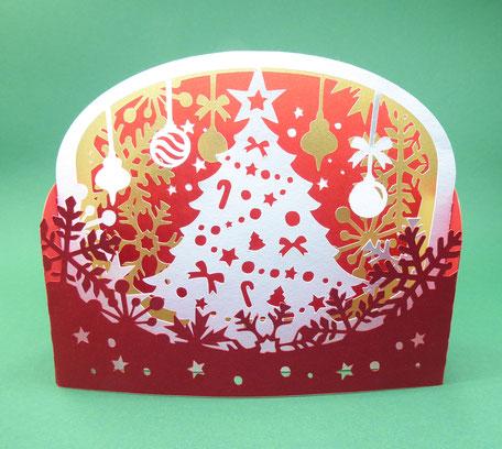 Carte de voeux en pop-up Sapin de Noël en format diorama