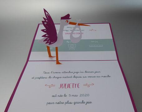 Faire-part naissance cigogne pop-up