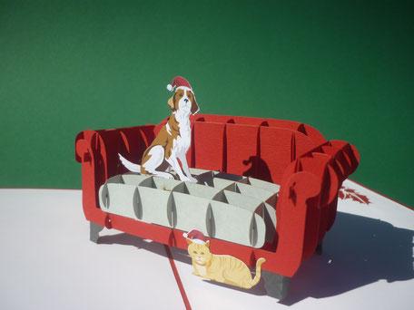 Carte de voeux en pop-up chien et chat de Noël - Joyeuses fêtes