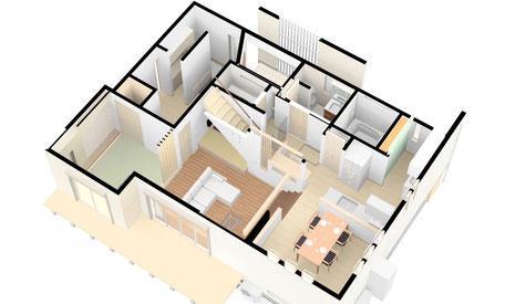 スキップフロア&ビルトインガレージの家-1F・M2F 鳥瞰パース図