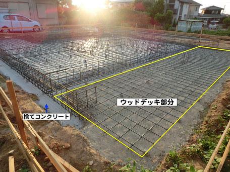 捨てコンクリート打設〜配筋