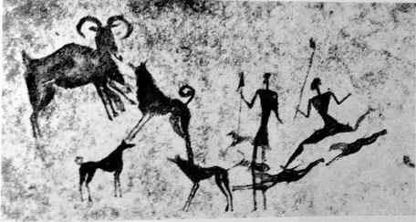 Jäger und ringelschwänzige Hunde erlegen ein Wildtier (Thar, Steinbock). Höhlenmalerei aus Neolithischer Höhle, Spanien. (Enzyklopädie der Jagdhunde, Räber,H.)