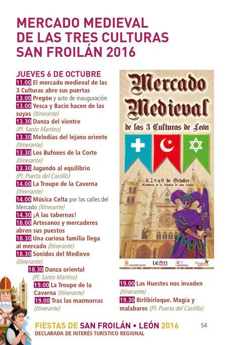 Fiestas de San Froilán en León Programa