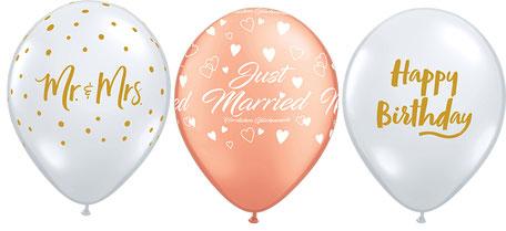Latexballons mit Aufdruck zu vielen unterschiedlichen Themen. Und in unterschiedlichen Farben.