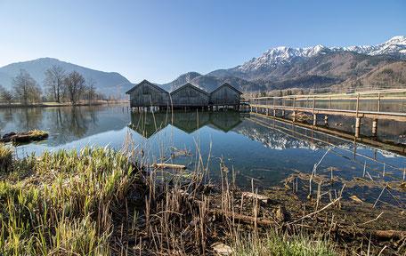 Bootshäuser am Kochelsee Schlehdorf Wandern in Bayern
