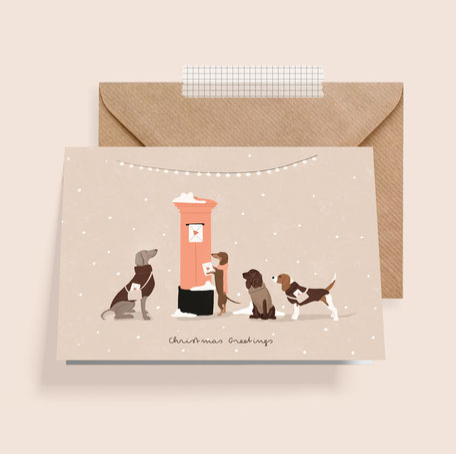 weihnachtskarte weihnachten christmas hunde dogs