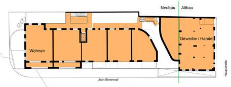 Erdgeschoss mit neuem Anbau