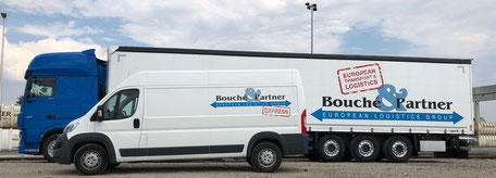 Bild: Van und Sattelzug der Bouché & Partner GmbH auf der Seite https://www.cblogistik.com/angebot-erstellen