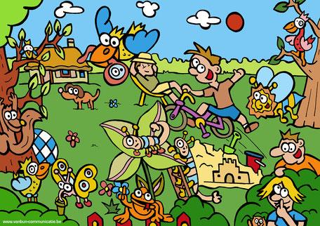Dirk Van Bun Communicatie & Vormgeving - illustraties - tekeningen - cartoons - corona in uw tuin