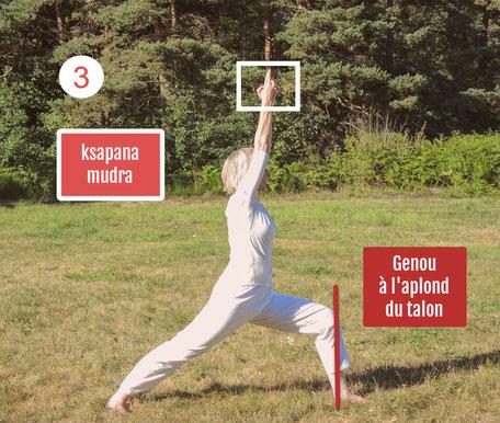 Guerrier ou Virabhadrasana 1 étape de la position intermédiaire, tronc est droit et bras allongés vers le ciel