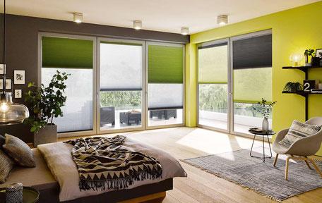 Plissee mit Tag- und Nacht-Stoffbehang