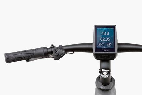 Das serienmäßige Bosch Purion Display ist unauffällig am Lenker angebracht und liefert die wichtigsten Daten und Funktionen.