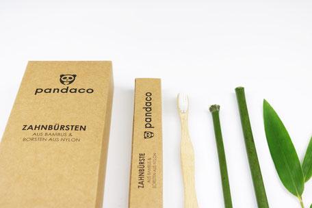 Bambus Zahnbürsten von pandaco, exklusiv in der 6 Stück Packung