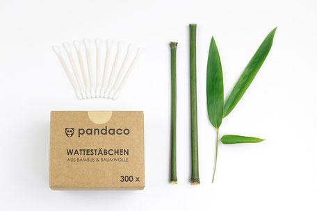 Bambus Wattestäbchen von pandaco in der 300 Stück Packung