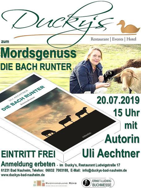Virtuelle Ernst-Ludwig-Buchmesse: NATURE & CRIME  mit Uli Aechtner im Ducky's Bad Nauheim, Plakat von Beatrix van Ooyen