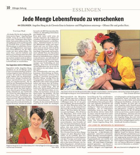 Presseartikel aus der Esslinger Zeitung über die Therapie- und Demenz-Clownin Angelina Haug aus Esslingen die Senioren in Pflegeheimen froh macht, mit freundlicher Genehmigung der Esslinger Zeitung