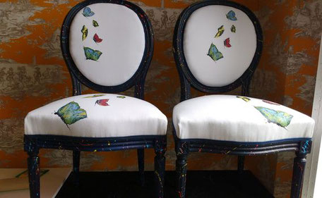 Chaises style Louis XVI, peinture par Kika et réfection par l'atelier de Sylvie