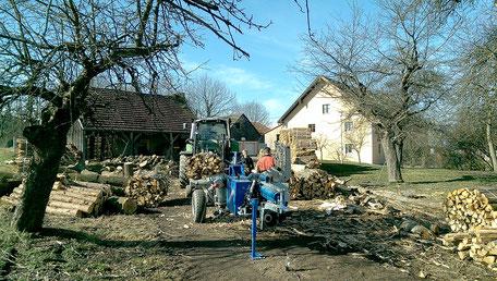 Vorspalten des Brennholzes zur Lagerung in Bündeln