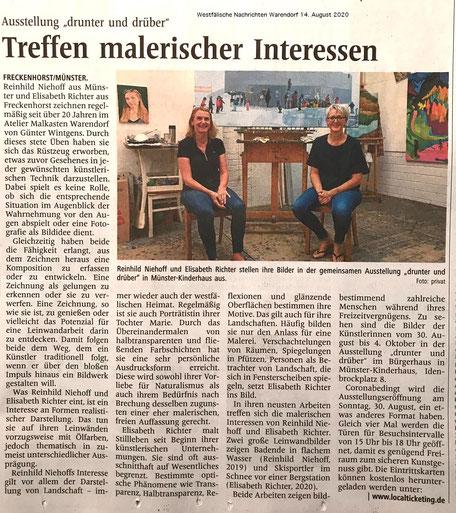 Westfälische Nachrichten Warendorf bringen einen Presseartikel zur kommenden Ausstellung von Reinhild Niehoff und Elisabeth Richter im Kap8 in Münster Kinderhaus.