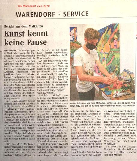 In den Westfälischen Nachrichten Warendorf erscheint am 25. August 2020 ein Bericht über den Malkasten Warendorf in der Corona Zeit.