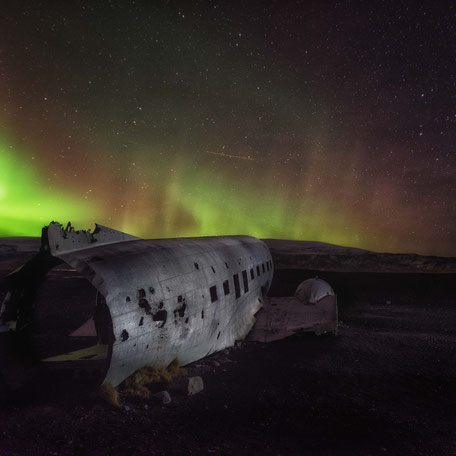 Aurora borealis | plane wreck | Sòlheimasandur | Iceland 2016