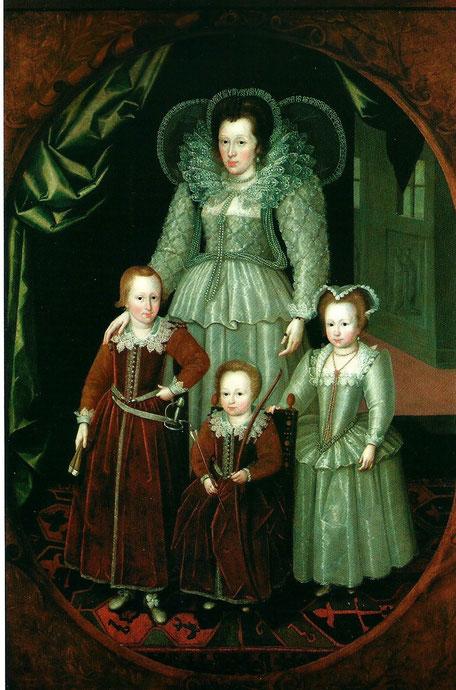 ANNE, LADY WENTWORTH (+ 1625) et SES ENFANTS THOMAS (1591-1667), JANE (1592-?), HENRY (1593-1644). ATELIER DE MARCUS GHEERAERTS et JOVEN (1561-1635), ECOLE FLAMANDE, HUILE SUR TOILE  242,5 x 164cm