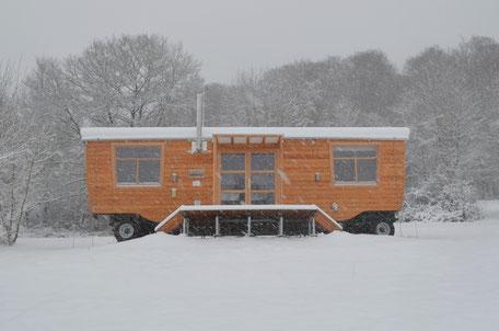 Konferenzwagen, Winter, Baumhaushotel Solling