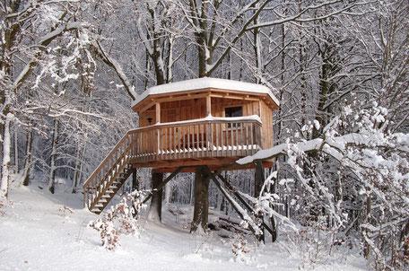 Rundhaus, Winter, Baumhaushotel Solling