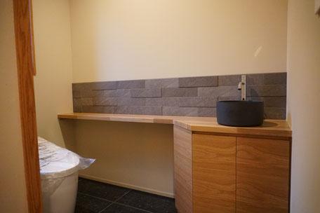 無垢材 トイレ収納 手洗いカウンター オーク