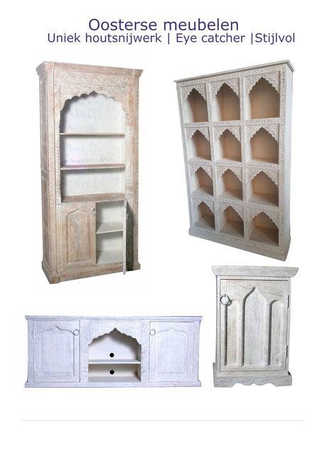 Oosterse|meubelen|white|wash|kasten|Arabisch||tv-meubel