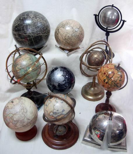 Bolas del mundo, globos terráqueos, sujetalibros